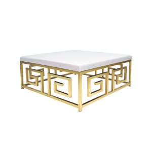 Gold Leaf and White Ostrich Square Ottoman