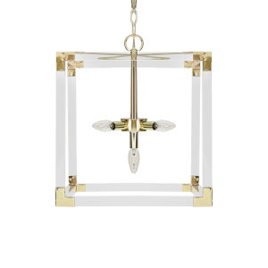 Acrylic and Polished Brass Five-Light Pendant