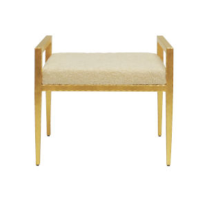 Gold Leaf and Natural Sherpa Rectangular Stool