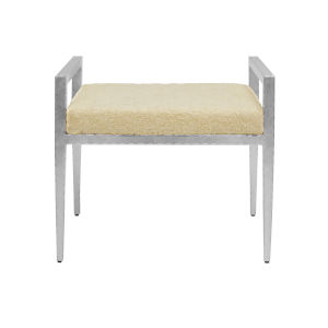 Silver Leaf and Natural Sherpa Stool