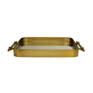 Antique Brass 25-Inch Tray with Inset Mirror