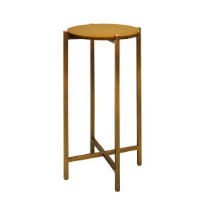 Antique Brass and Beige Faux Shagreen 20-Inch End Table