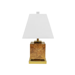 Glossy Burl Wood and Polished Brass Square Table Lamp