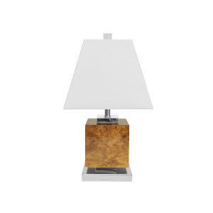 Glossy Burl Wood and Polished Nickel Square Table Lamp