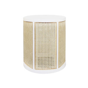 Matte White Lacquer and Natural Caning Side Table