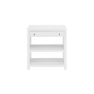 Glossy White Lacquer and Nickel Side Table
