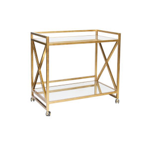Gold Leaf and Plain Mirror 36-Inch Bar Cart