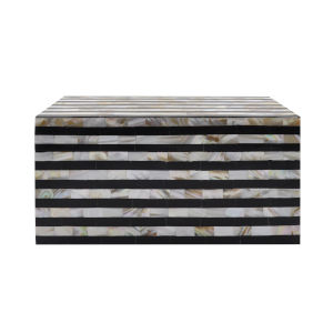 Faux Mother of Pearl and Black Handcrafted Decorative Box