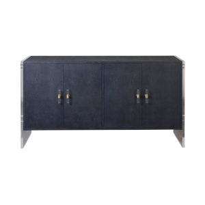 Navy Faux Shagreen and Acrylic Four Door Cabinet