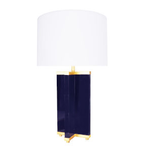 Navy and Gold Leaf Table Lamp
