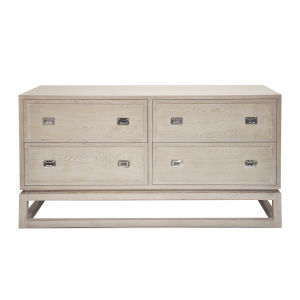 Cerused Oak and Polished Nickel Four Drawer Chest