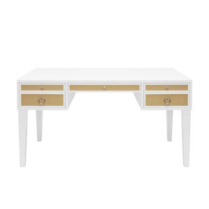 Matte White Lacquer and Polished Nickel Desk