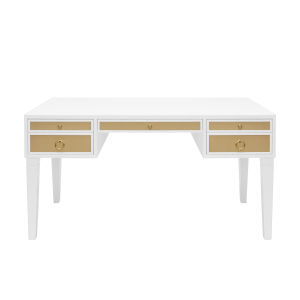 Matte White Lacquer and Polished Brass Desk