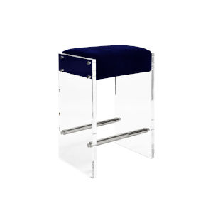 Acrylic, Polished Nickel and Navy Velvet 26-Inch Counter Stool with Cushion