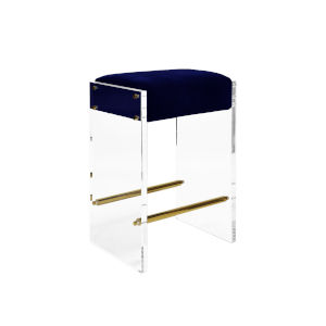 Acrylic, Polished Brass and Navy Velvet 26-Inch Counter Stool with Cushion