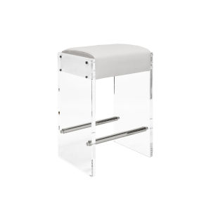 Acrylic, Polished Nickel and White 26-Inch Counter Stool with Cushion