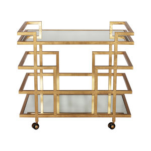Gold Leaf and Plain Mirror Linear Bar Cart