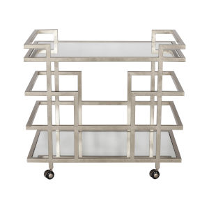 Silver Leaf and Plain Mirror Bar Cart