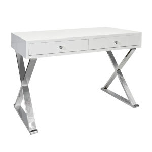 Glossy White Lacquer and Stainless Steel Two Drawer Desk