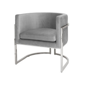 Polished Nickel and Gray Velvet Chair