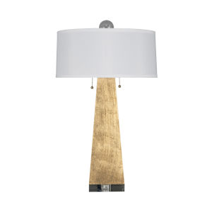 Gold Leaf and White Linen 17-Inch Table Lamp