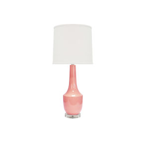 Coral Ceramic Table Lamp with White Linen Shade