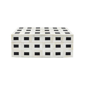 Natural Bone and Black 14-Inch Decorative Box