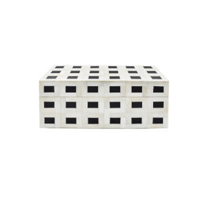 Natural Bone and Black 12-Inch Decorative Box