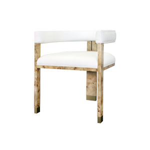 Matte Burl Wood and White Linen Chair