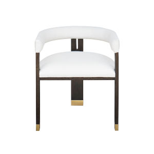 Dark Espresso Oak and White Linen Upholstery Stool