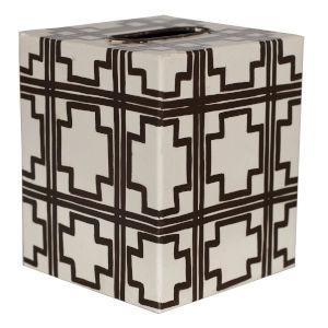 Cream and Brown Square Kleenex Box