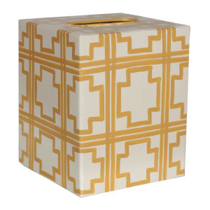 Cream and Yellow Square Kleenex Box