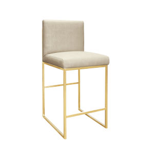 Polished Brass and Beige Faux Shagreen Bar Stool