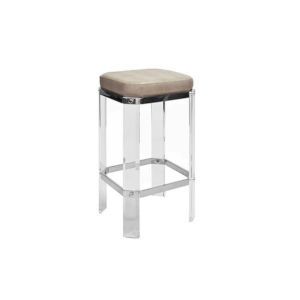 Polished Nickel and Brown Faux Shagreen Bar Stool