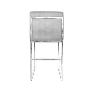 Polished Nickel and Grey Faux Shagreen Bar Stool