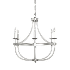 Acrylic and Silver Leaf Six-Light Chandelier