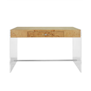Matte Burl Wood and Acrylic Side Panel Desk