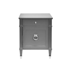 Matte Dark Grey Lacquer and Polished Nickel Side Table