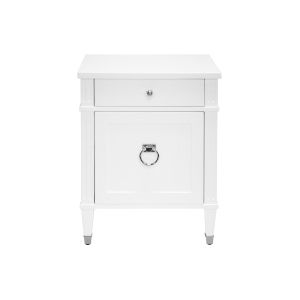 Glossy White Lacquer and Polished Nickel Side Table