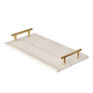 White Marble and Polished Brass Handle Tray