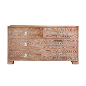 Acrylic Dark Cerused Oak and Polished Brass Six Drawer Chest