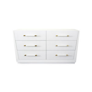 Matte White Lacquer and Antique Brass Chest