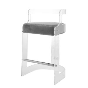 Acrylic and Gray Barrel Back Bar Stool with Cushion