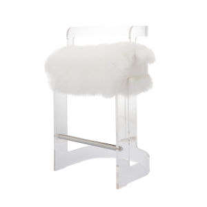 Acrylic and White Barrel Back Bar Stool with Mongolian Fur Cushion