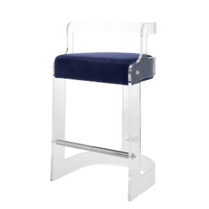Acrylic and Navy Velvet Barrel Back Bar Stool with Cushion