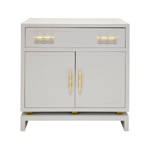 Matte Grey Lacquer and Gold Leaf Cabinet