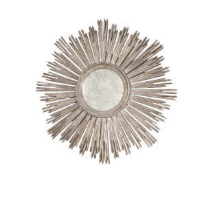 Champagne Silver Leaf Handcarved Starburst Wall Mirror