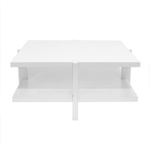 Glossy White Lacquer Two-Tier Square Coffee Table