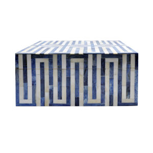 Blue and White 13-Inch Decorative Box