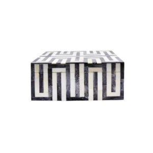 Dark Gray and White 13-Inch Geometric Decorative Box